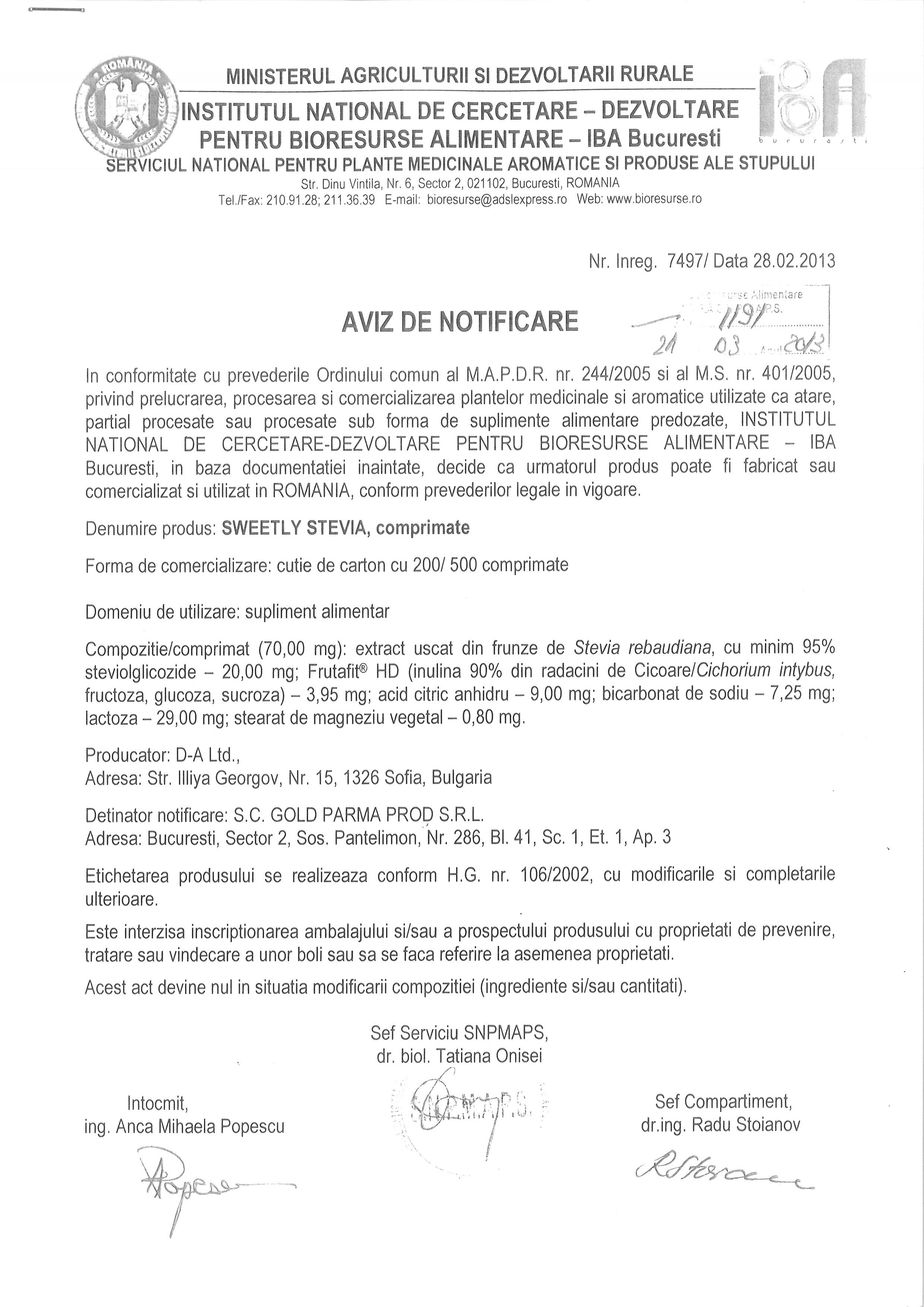 Aviz de notificare IBA Bucuresti
